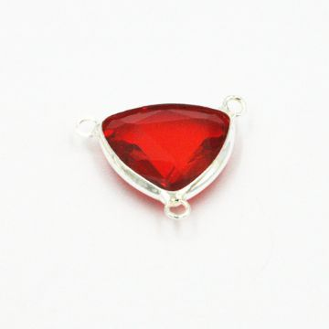 19.5*19.5mm Red colour triangle crystal connector - with 3 rings